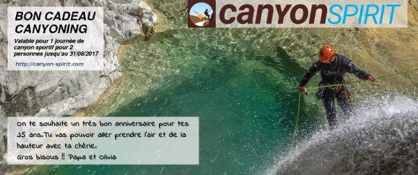 Bon carte cadeau canyoning pyrenees